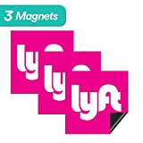 """Uber Driver Magnet - 6 Premium Magnets Bulk Pack - [5""""x5"""" inches] - Durable Car Door/Bumper Magnet w/ Highly Reflective Vinyl - Sign for Uber, Lyft, and Rideshare Drivers (3 Pack Lyft Magnet)"""