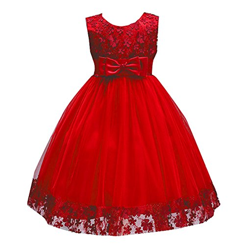 Kids Flower Girls Sleeveless Christmas Dresses Kids Birthday Party Host Bowknot Costume Wedding Dress Size 2T 3T (Red,3)