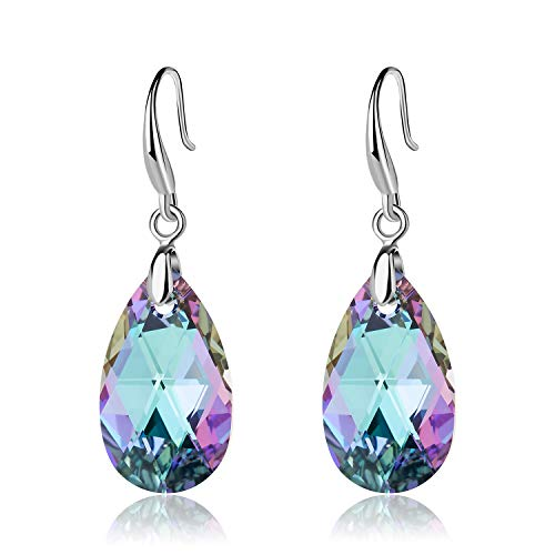 EVEVIC Swarovski Crystal Teardrop Dangle Hook Earrings for Women Girls 14K Gold Plated Hypoallergenic Jewelry (Vitrail Light) ()