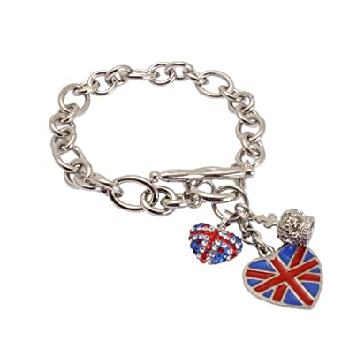 Bedazzled Silver Colour Charm Fashion Bracelet with Union Jack Heart Charms - Gift Boxed xUxIRosaN