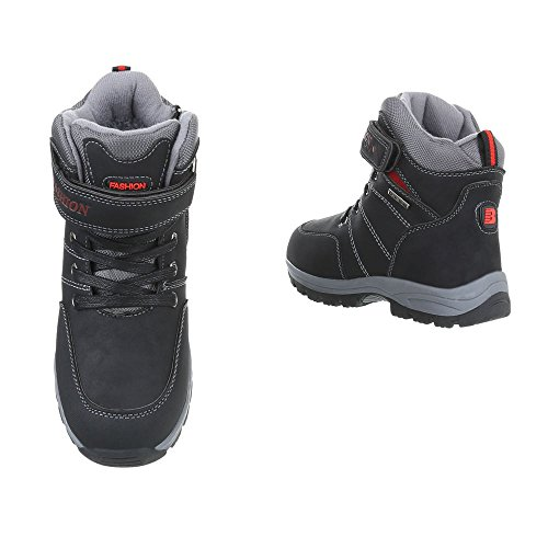 Stiefel & Boots Kinderschuhe Klassischer Stiefel Jungen Reißverschluss Ital-Design Stiefeletten Schwarz