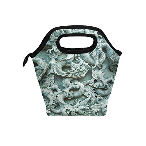 - Carved Chinese Dragon Pattern Reusable Insulated Lunch Bag Durability Zip Closure Tote School Travel Picnic Handbag Cooler Warm Lunchbox for Women Girls Kids Men Office Worker