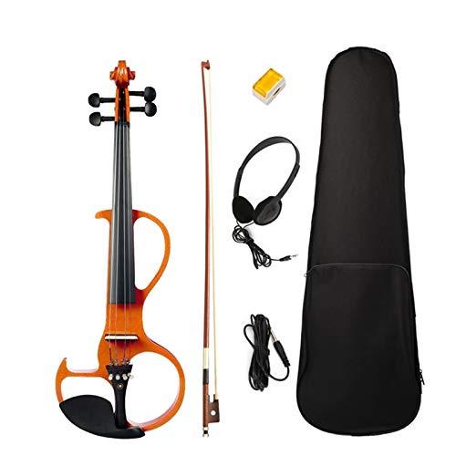 H | A 전기 바이올린 4 | 4 풀 사이즈 바이올린 피아노 헤드폰 로진 슈트 사일런트 바이올린 TOM-V