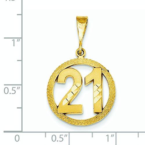 Numéro 21 14 carats avec pendentif en forme de cercle-Dimensions :  30,6 x 18,4 mm-JewelryWeb