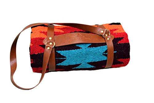 Open Road Goods Tan Mexican Yoga Blanket, Navajo Aztec Diamond XL Thick Serape with Stripes-Handmade with Vegan Leather Blanket Carrier/Yoga Mat Strap (Diamond Vegan)