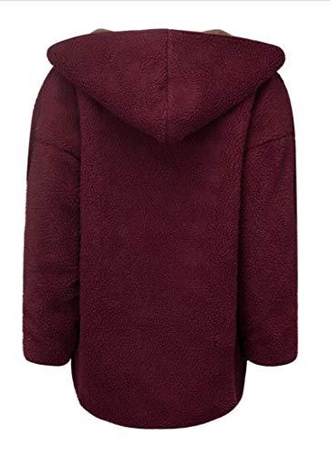 Anteriori Rosso Mantello Cappuccio Tasche Grazioso Elegante Lana Outerwear Con Cappotto Donna Monocromo Reversibile Manica Hot Lunga Cardigan Invernali Moda Confortevole Imbottita Di 3j5Rc4LqAS