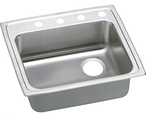 Right Rear Drain - Elkao|#Elkay LRAD221960RX Elkay 18 Gauge Stainless Steel 22 inch x 19.5 inch x 6 inch single Bowl Top Mount Kitchen Sink with Rear Right Drain,