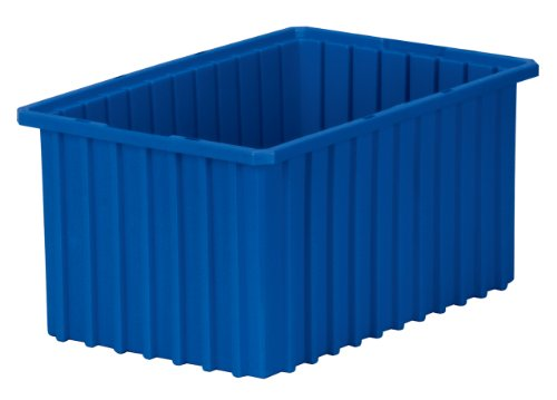 Akro-Mils 33168 Akro-Grid Slotted Divider Plastic Tote Box, 16-1/2-Inch Length by 10-7/8-Inch Width by 8-Inch Height, Case of 6, Blue -