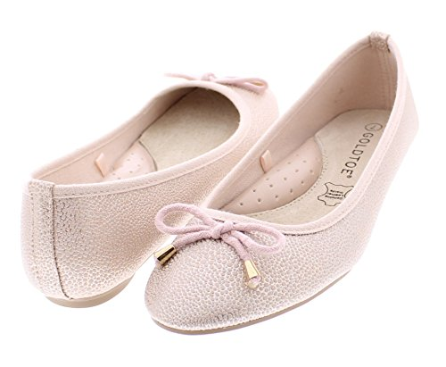 Gold Toe Womens Clarke Comfortable Slip On Bow Ballet Flat Casual Dress Skimmer Shoe With Arch Support Rose Gold JmZqSs