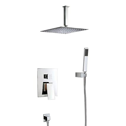 Merveilleux Ceiling Mounted Shower Faucets Sets Complete With 12 Inch Solid Brass Shower  Head And Handle Sets Rain Mixer Shower Combo, Chrome Finish     Amazon.com