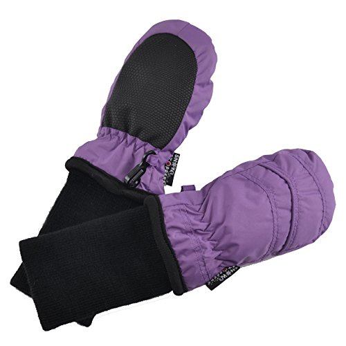 Lilac Ice Apparel - SnowStoppers Kid's Waterproof Stay On Winter Nylon Mittens Extra Small / 6-18 Months Deep Lilac