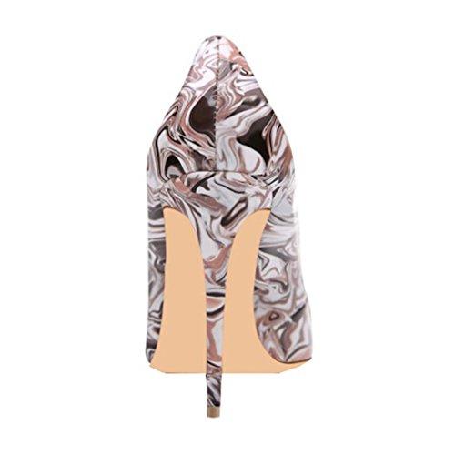 Enmayer Vrouwen Pu Materiaal Hoge Hakken Ronde Neus Pumps Casual Party Schoenen Voor Vrouwen Stiletto Ondiepe Schoenen Paars