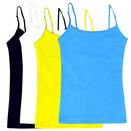 (Women's Camisole Built-in Shelf Bra Adjustable Spaghetti Straps Tank Top Pack 4 Pk White   Navy   Yellow   Sky Blue Large)