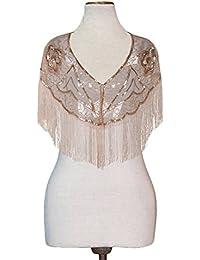 Women's Gatsby Cape Sequin Fringed Bolero 1920s Flapper Cover Up
