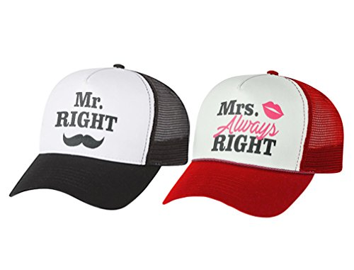 Mr & Mrs Gift for Couples, Anniversary, Married Couples Matching Set Mesh Caps Mr Black/White One Size/Mrs red/White One -