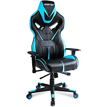 Merax Racing Style Gaming Chair Adjustable Height Computer Desk Chair, Blue/Black