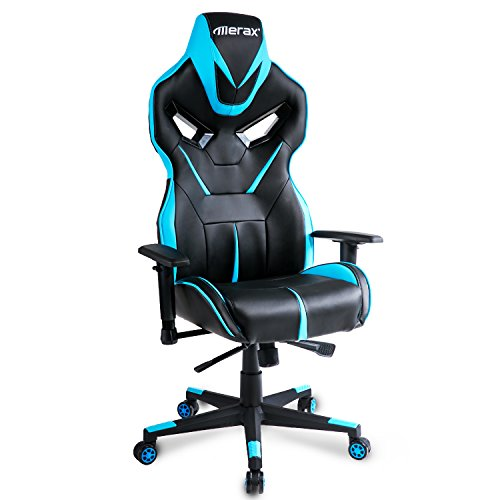 Merax Racing Style Gaming Chair Adjustable Height Computer Desk Chair, Blue/Black Review