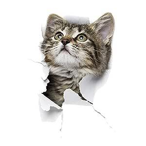 Pegatinas 3D de gato mirando a la pared del gato, nevera, inodoro ...