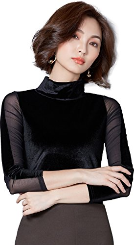 Ababalaya Women's Retro Gold Velvet Sheer Splicing Turtleneck Long Sleeve Fitted Blouse,853Black,XS