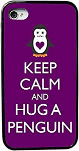 Rikki KnightTM Keep Calm and Hug a Penguin Purple Color Design iPhone 5 & 5s Case Cover (Black Rubber with bumper protection) for Apple iPhone 5 & 5s