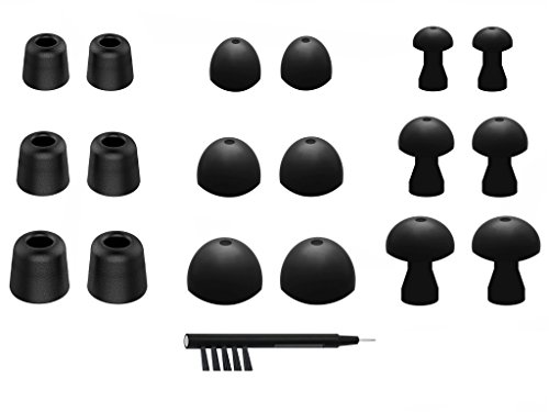 NICKSTON N-1 Assorted Ear Tips Set for In Ear Earphones with 2.0mm to 3.5mm Nozzle Attachment - Replacement Adapters Gels Buds with Box Organizer and Cleaning Tool