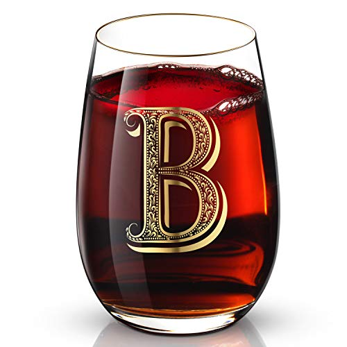 B Customized 24K Gold Hand Crafted Luxury Drinking and Wine Glass for Wedding,Anniversary,Birthday and any Noteworthy Occasions,Products Also Come With Your Choices of Special Meaningful Initials