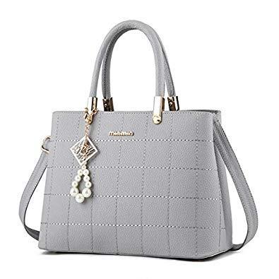 Bloomerang FGJLLOGJGSO Women Bags Casual Tote Women PU Leather Handbags Fashion Women Messenger Bags Designer Crossbody Bags Famous Brands color Light Grey 30CMX13CMX22CM