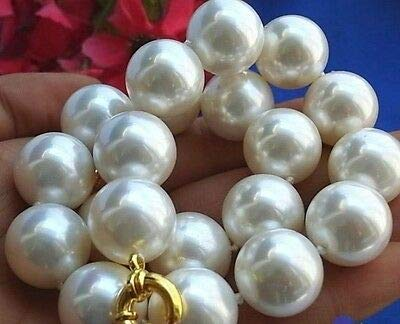 FidgetKute Rare Huge 8MM 10MM 12MM 14MM 20mm South sea White Shell Pearl Necklace AAA 18