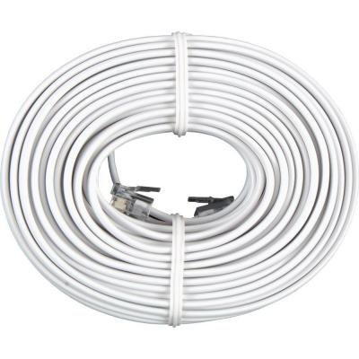 Permo 50 Feet White Telephone Extension Cord Cable Line - Line 50' Cord Telephone