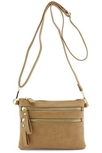 FashionPuzzle Multi Zipper Pocket Small Wristlet Crossbody Bag Stone One Size by FashionPuzzle