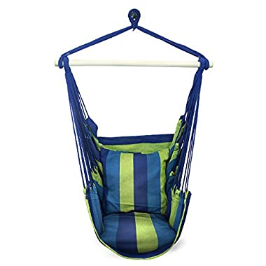 Sorbus Blue Hanging Rope Hammock Chair Swing Seat for Any Indoor or Outdoor Spaces