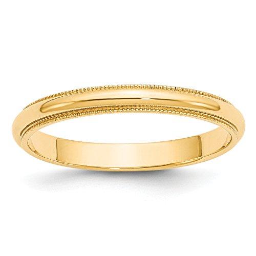14k Yellow Gold Milgrain Half-Round Wedding Band Size 10 ()