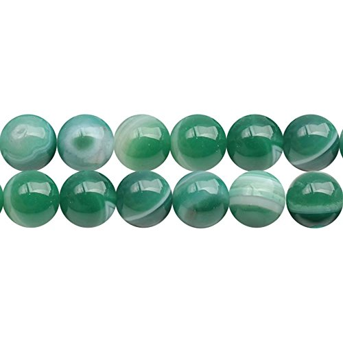 Women Fashion Jewelry Craft DIY Beading Beads Material Lots Supply One Full Strand 10mm Natural Green Striped Pattern Agate Stone Loose Spacer Beads 15 Inch Apx 35 Pcs (Stone Agate Green)