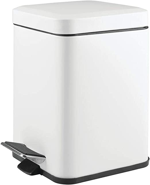 Amazon Com Mdesign 1 5 Gallon Square Small Metal Step Trash Can Wastebasket Garbage Container Bin For Bathroom Powder Room Bedroom Kitchen Craft Room Office Removable Liner Bucket Matte White Home Kitchen