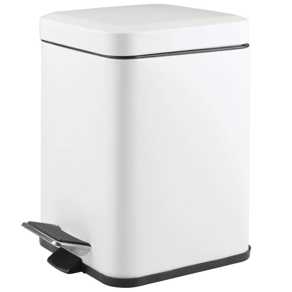 mDesign 1.5 Gallon Square Small Metal Step Trash Can Wastebasket, Garbage Container Bin for Bathroom, Powder Room, Bedroom, Kitchen, Craft Room, Office - Removable Liner Bucket - Matte White