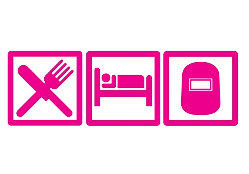 (CMI DD625HP Eat Sleep Weld Decal Sticker | 7.5-Inches By 2.5-Inches | Premium Quality Hot Pink Vinyl)