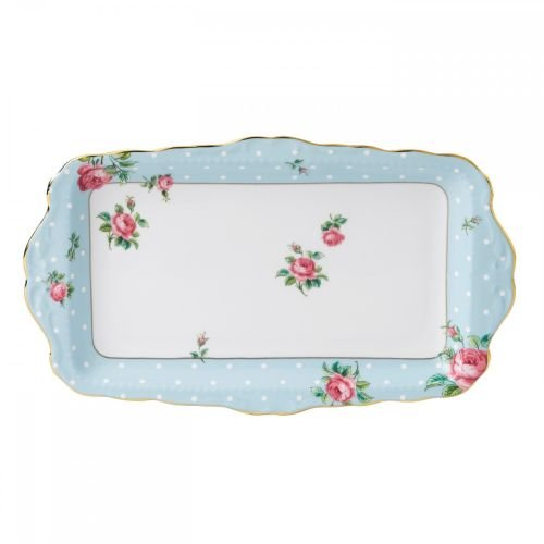 (Royal Albert 8705026137 Vintage Formal Sandwich Tray, Polka Blue)