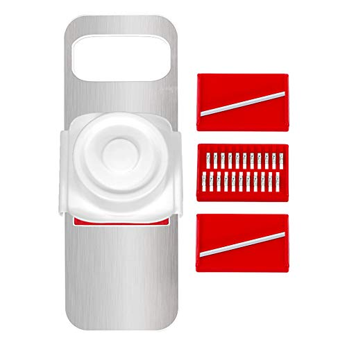 DENGSH Vegetable Slicer,Stainless Steel Household Multifunction Shredder,Gadget,with Safety Hand Guard 3 in 1 Tough/Red
