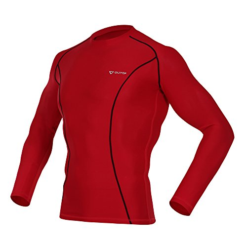 OUTOF Men's Long Sleeve T-Shirts Baselayer Cool Dry Compression Top Runnging Yoga Rashguard MTL7117-L-RBK ()