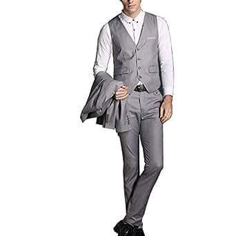 Michealboy Fashion Gray 2 Pieces Men Suits One Button Blazer Pants Business