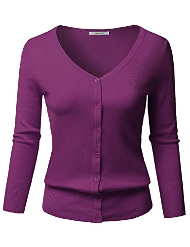 Awesome21 Solid Button Down V-Neck 3/4 Sleeves Knit Cardigan Purple Size - Spandex Purple Acrylic