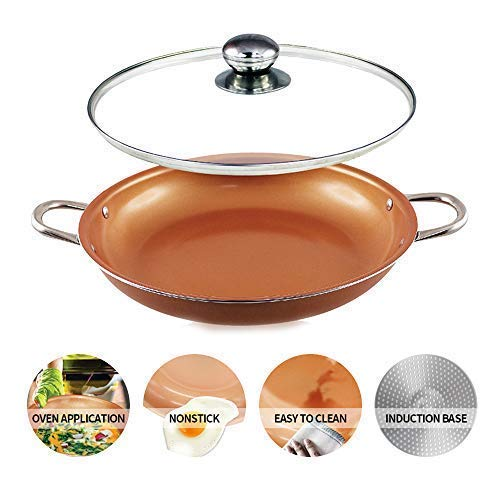 14 inch Non Stick Copper coated Ceramic Induction Base Cooking Fry Pan 14''Wok Casserole set with Lid Dishwasher & Oven safe copper wok set