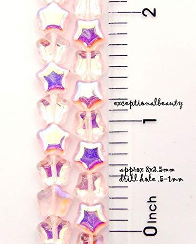 Pendant Jewelry Making 58 Light Pink AB Czech Pressed Bohemian Glass 8mm Puffed Star Beads