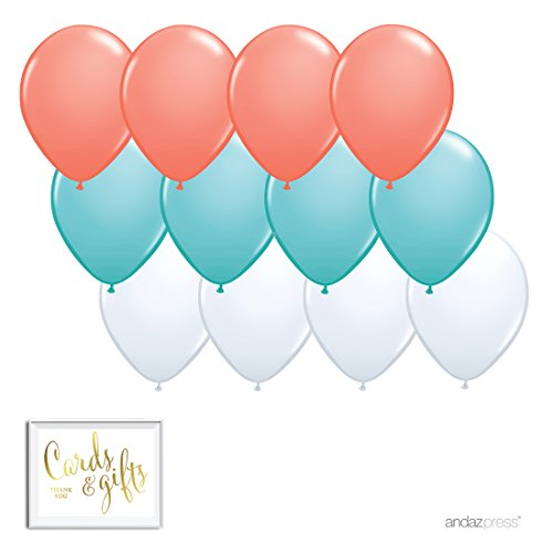 Andaz Press 11-inch Latex Balloon Trio Party Kit with Gold Cards & Gifts Sign, Coral, Diamond Blue and White, 12-pk