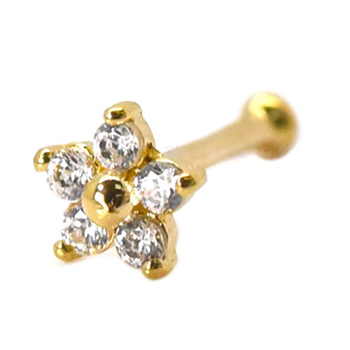 Trendy Earrings by WSI Nose Piercing Stud 3mm Flower with Cubic Zirconia 14k Gold Ball Bone End Cartilage Jewelry