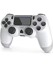 Wireless Controller for PS-4, YAEYE 1000mAh PS-4 Gamepad Joystick for PS-4/Pro/Slim Console with Dual Vibration Bluetooth Connection and 6-axis Gyro Sensor Touchpad (White)