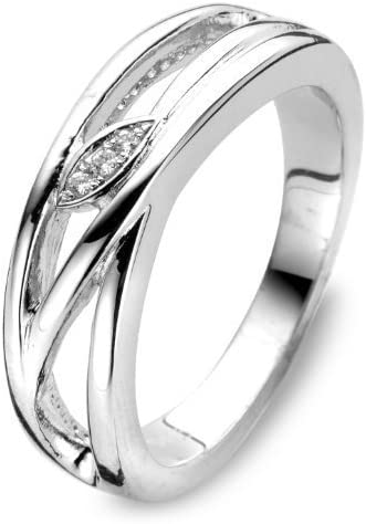 Velini Bague R6866 3 pierres de cubique zirconia qui brillent comme des diamants. en argent 925 qualit/é AAA Micro Pave serti