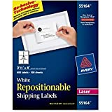 Avery 55164 Repositionable Shipping Labels, Inkjet/Laser, 3 1/3 x 4, White (Box of 600 Labels)