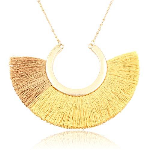 RIAH FASHION Bohemian Fringe Tassel Pendant Statement Necklace - Silky Strand Semi Circle Thread Fan Charm Long Chain (Half Moon - Multi Mustard)