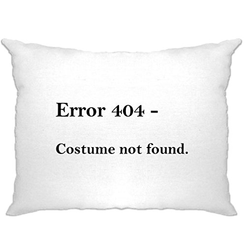Tim And Ted Nerdy Halloween Pillow Case Error 404, Costume Not Found White One Size ()